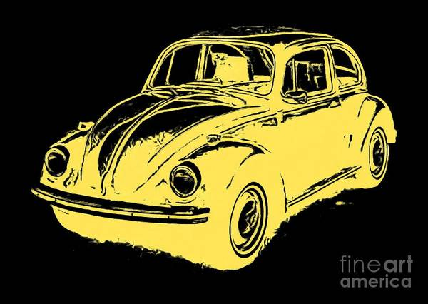 Wall Art - Digital Art - Classic Beetle Tee Yellow Ink by Edward Fielding