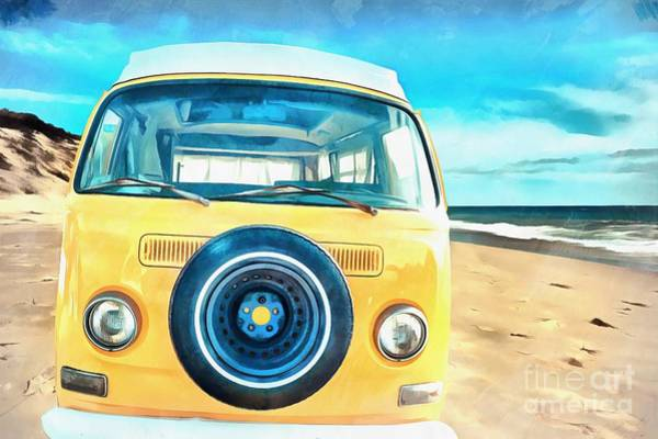 Wall Art - Painting - Classic Vw Camper On The Beach by Edward Fielding