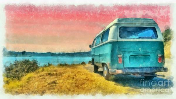 Wall Art - Digital Art - Classic Vw Van Surfer Bus At Sunset Watercolor by Edward Fielding