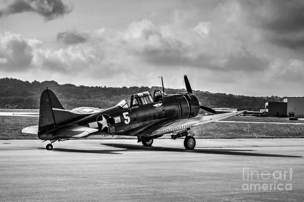 Radial Engine Photograph - Classic Warbird At Lunken Airport Bw by Mel Steinhauer