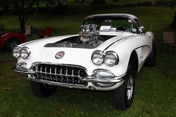 Photograph - Classic White Chevy Corvette  by Bob Slitzan