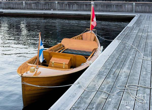 Photograph - Classic Wooden Muskoka Boat  by Les Palenik