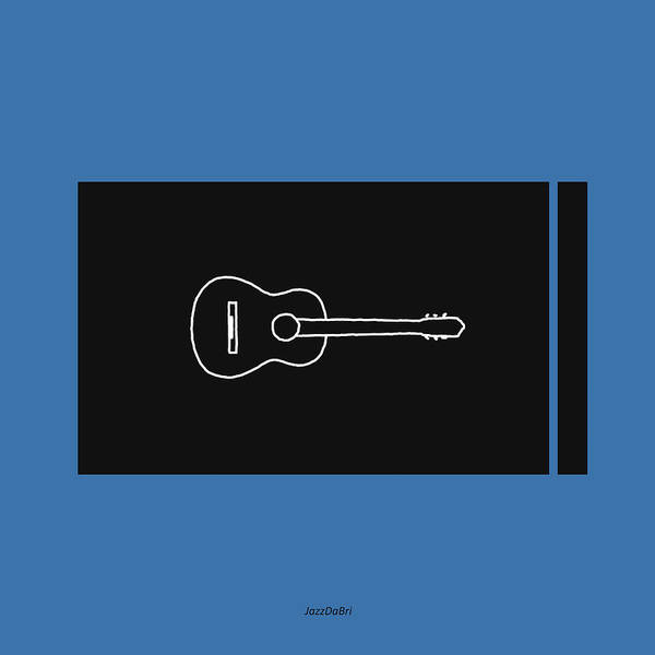 Wall Art - Digital Art - Classical Guitar In Blue by David Bridburg