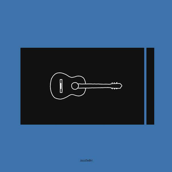 Digital Art - Classical Guitar In Blue by David Bridburg