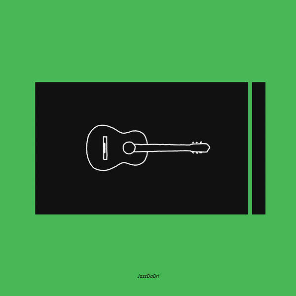 Wall Art - Digital Art - Classical Guitar In Green by David Bridburg