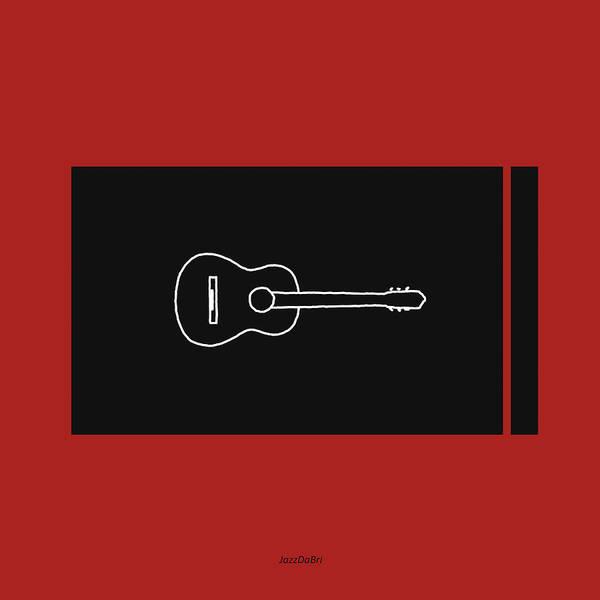 Digital Art - Classical Guitar In Orange Red by David Bridburg