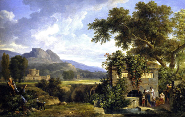 Wall Art - Painting - Classical Landscape With Figures Drinking By A Fountain by Pierre-Henri de Valenciennes
