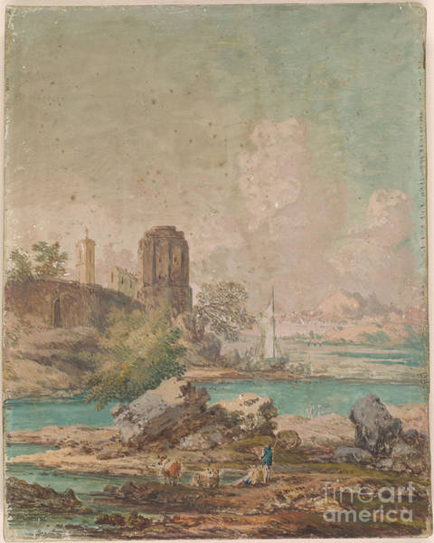 1781 Painting - Classical Landscape With People And Cattle On Shore Or Lake by MotionAge Designs