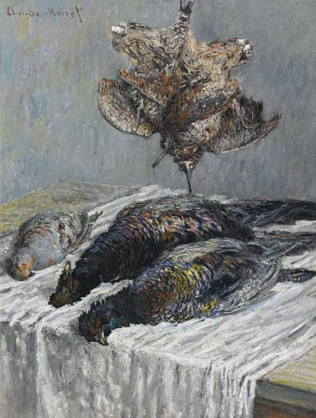 Wall Art - Painting - Claude Monet 1840 - 1926 Pheasant, Woodcock And Partridge by Claude Monet