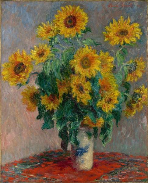 Wall Art - Painting - Claude Monet - Bouquet Of Sunflowers - 1881.. by Celestial Images