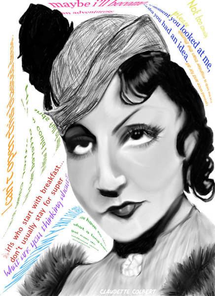 Leading Actress Digital Art - Claudette Colbert by Bless Misra