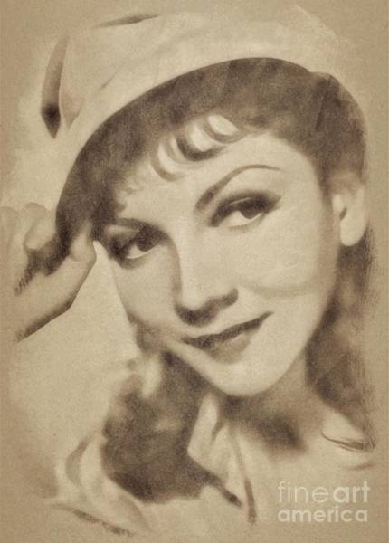 Pinewood Drawing - Claudette Colbert, Vintage Actress By John Springfield by John Springfield