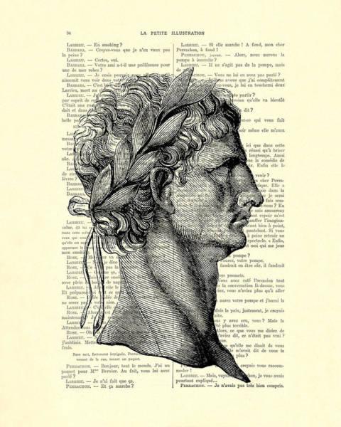 I Digital Art - Claudius Caesar Black And White Portrait by Madame Memento