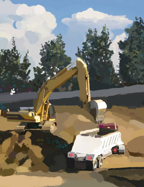 Construction Painting - Claw And Loader by Brad Burns