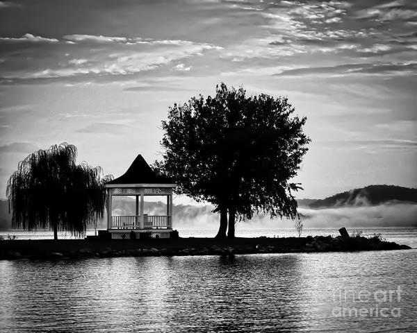 Claytor Lake Gazebo - Black And White Art Print
