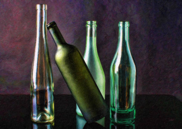 Painting - Clear And Green Bottles by Dean Wittle