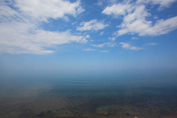 Clear Blue Waters With Clouds, Lake Superior Art Print
