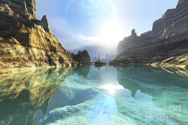 Lagoon Digital Art - Clear Canyon River Waters Reflect by Corey Ford