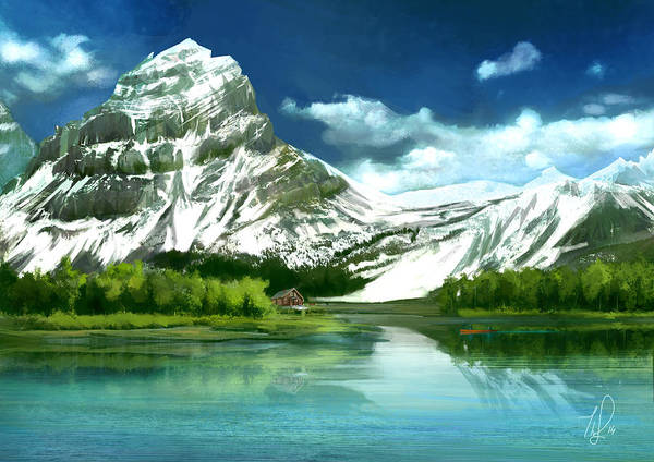 Cyan Digital Art - Clear Lake And Mountains by Thubakabra