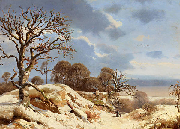 Baltic Sea Painting - Clear Winter's Day By The Baltic Sea by Heinrich Buntzen