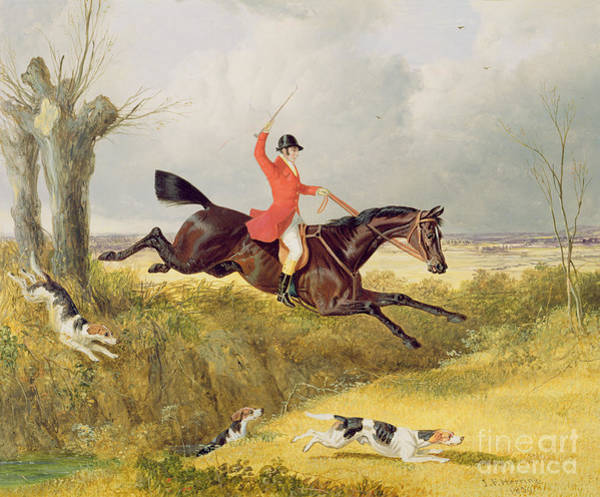 Huntsmen Wall Art - Painting - Clearing A Ditch by John Frederick Herring Snr