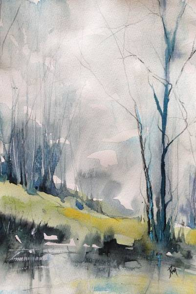 Clearing By The Riverbank Art Print