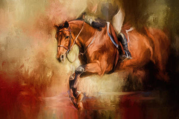 Painting - Clearing The Jump Equestrian Art by Jai Johnson