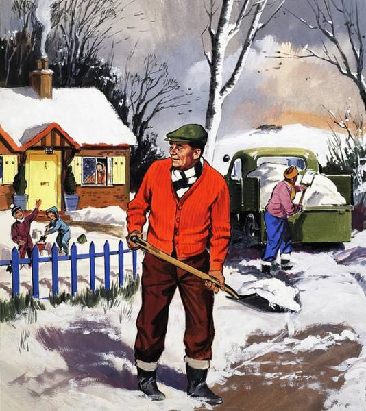 Spade Painting - Clearing The Snow by English School
