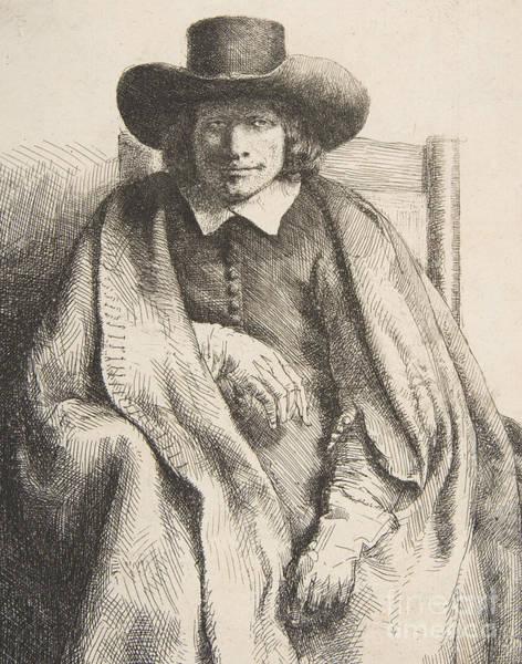 Male Model Drawing - Clement De Jonghe, Printseller, 1651 by Rembrandt