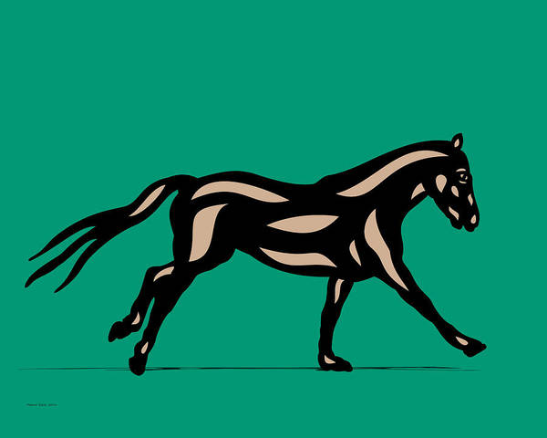 Digital Art - Clementine - Pop Art Horse - Black, Hazelnut, Emerald by Manuel Sueess