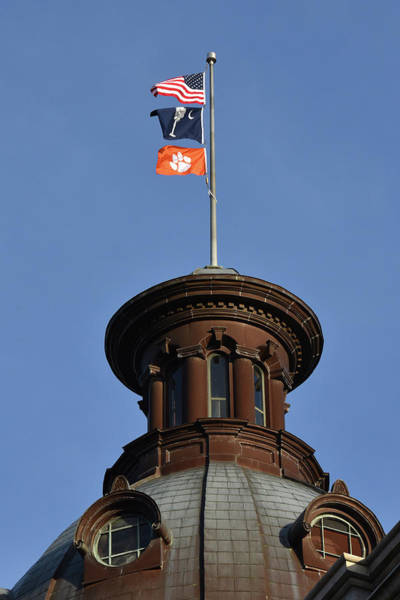 College Football Photograph - Clemson Flag At State House by Rob Thompson