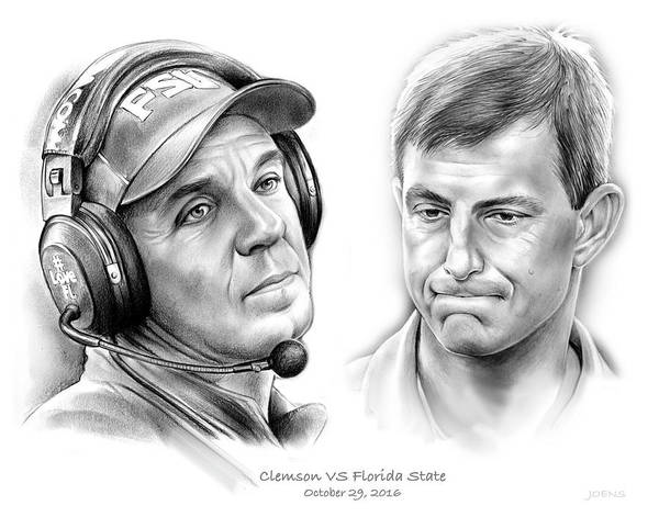 Wall Art - Drawing - Clemson Vs Florida State by Greg Joens