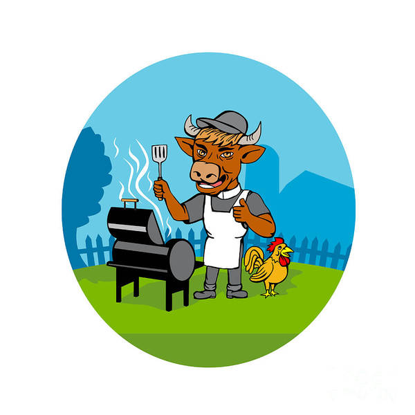 Bbq Digital Art - Clergy Cow Minister Barbecue Chef Rooster Caricature by Aloysius Patrimonio