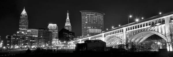 Playhouse Photograph - Cleveland Black And White Panoramic by Frozen in Time Fine Art Photography