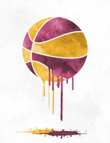 Wall Art - Mixed Media - Cleveland Cavaliers Dripping Water Colors Pixel Art by Joe Hamilton