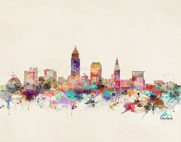 Watercolour Landscape Painting - Cleveland City Ohio by Bri Buckley