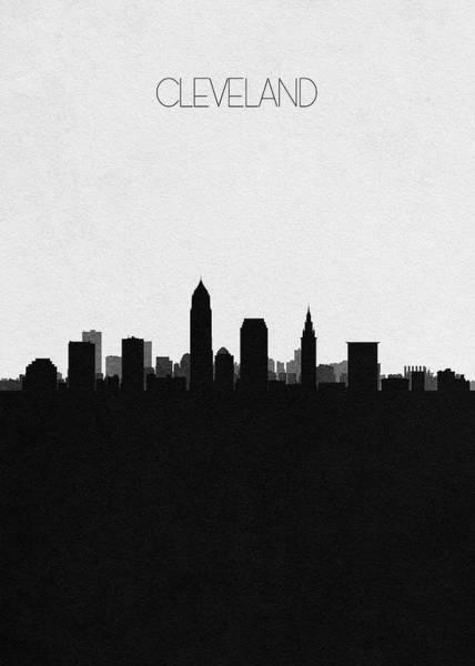 Souvenir Digital Art - Cleveland Cityscape Art by Inspirowl Design