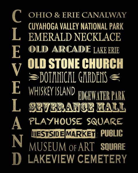 Wall Art - Digital Art - Cleveland Famous Landmarks by Patricia Lintner