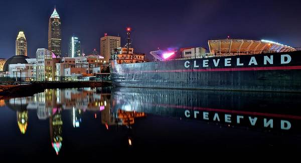 Playhouse Photograph - Cleveland Lakefront Pano Reflection by Frozen in Time Fine Art Photography