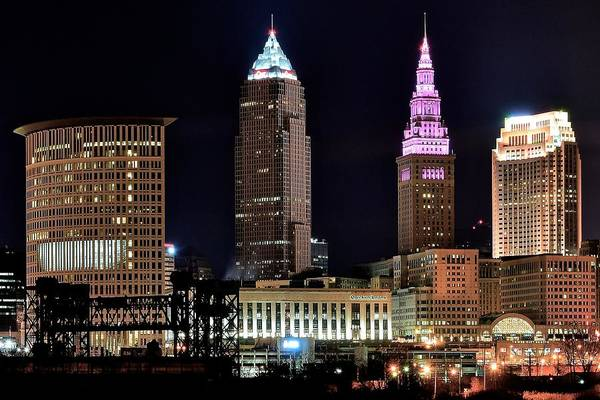 Playhouse Photograph - Cleveland Nightscape by Frozen in Time Fine Art Photography