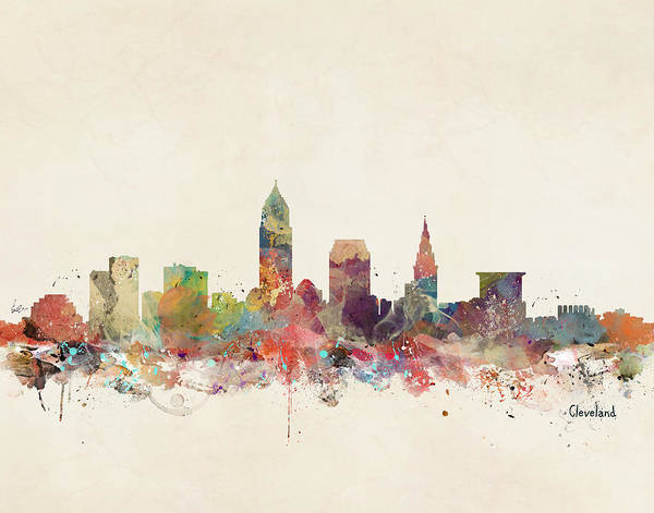 Ohio Wall Art - Painting - Cleveland Ohio City Skyline by Bri Buckley