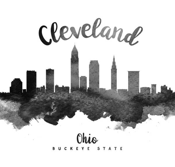 Wall Art - Painting - Cleveland Ohio Skyline 18 by Aged Pixel