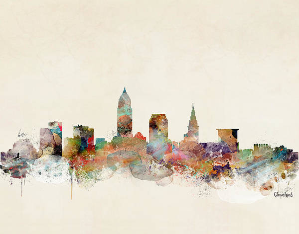 City Map Painting - Cleveland Ohio Skyline by Bri Buckley
