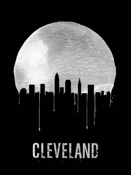 Dreamy Wall Art - Painting - Cleveland Skyline Black by Naxart Studio