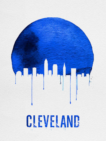 Wall Art - Painting - Cleveland Skyline Blue by Naxart Studio