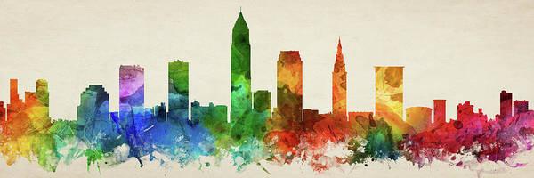Wall Art - Digital Art - Cleveland Skyline Panorama Usohcl-pa03 by Aged Pixel