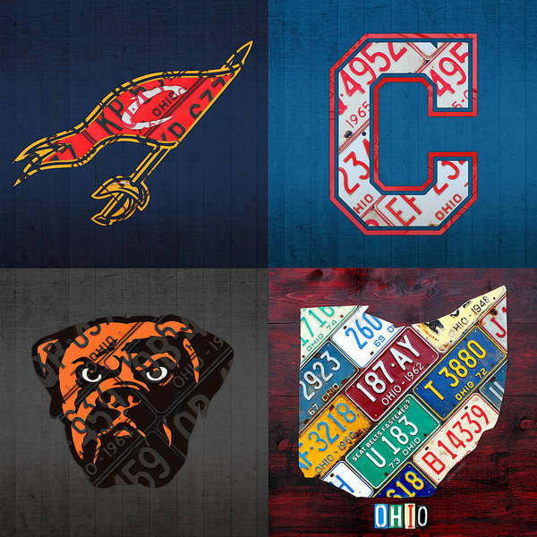 Wall Art - Mixed Media - Cleveland Sports Fan Recycled Vintage Ohio License Plate Art Cavaliers Indians Browns And State Map by Design Turnpike