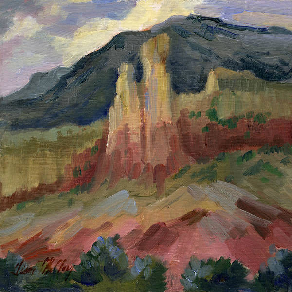 Wall Art - Painting - Cliff Chimneys At Georgia O'keeffe's Ghost Ranch by Diane McClary