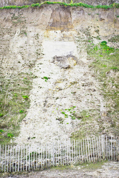 Barrier Photograph - Cliff Damage by Tom Gowanlock