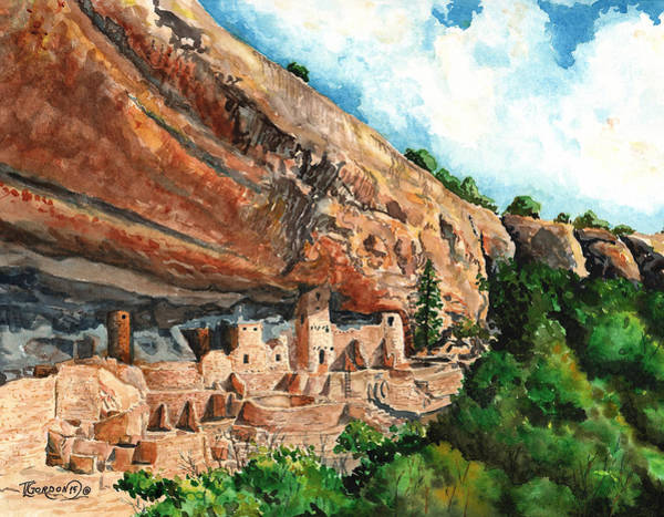 Aztec Painting - Cliff Palace Mesa Verde by Timithy L Gordon